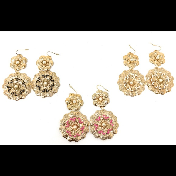 Jewelry - Round Drop Embellished Earrings Gold Solid Circle